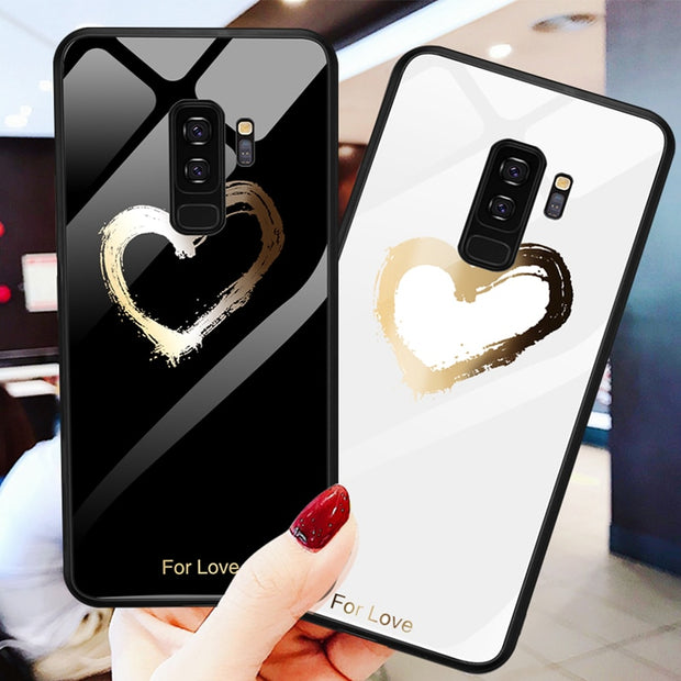 Painted Lover Heart Tempered Glass Case For Samsung Galaxy S8 S9 Plus Note 8 Cartoon Cover Coque For Samsung Galaxy Note 8 S8 S9