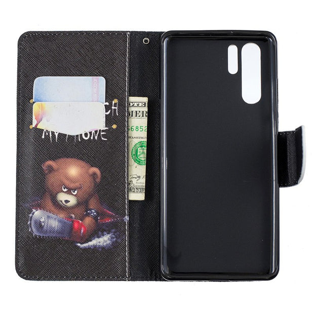Painted PU Leather Case For Huawei P30 P30 Pro Cover Flip Wallet With Card Stents Holster Feather Butterfly Designer Phone Bags