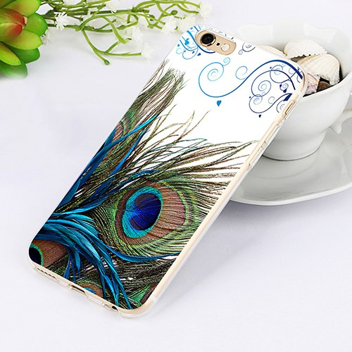 Peacock Feather Print Case Cover For IPhone 7 7 Plus