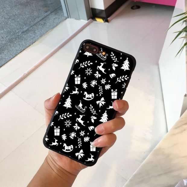 Phone Case For IPhone 6 6s 7 8 Plus X 5 5s SE Cover Cute Husky Dog Christmas Soft TPU Black Capa For IPhone 8 XR XS Max