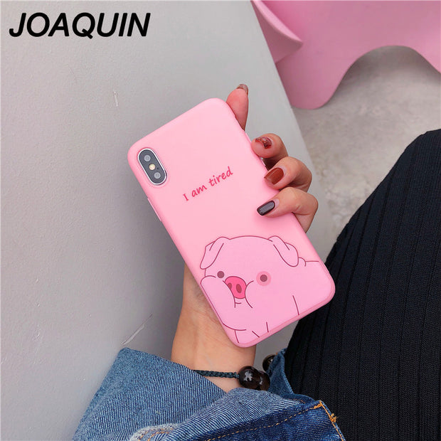 Phone Case For IPhone X 8 7 6 6s Plus Cartoon Pink Cute Pig Duck Soft Shell Tpu Simple Cover Cases For IPhone XR XS MAX Case