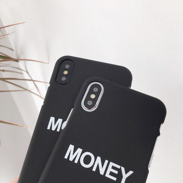 Phone Case For Iphone X Fashion Simple English Money Black Frosted Plastic Phone Cover For IPhone 6 6s 7 8 Plus Cases Capa Coque
