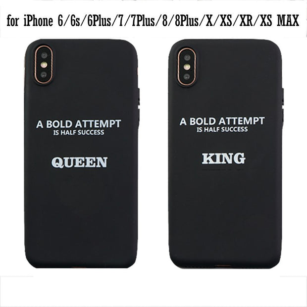 Phone Case For Iphone XR XS Max X 8 7 6 Plus 6s Case King Queen Crown Stylish Soft TPU Cover For Iphone XS