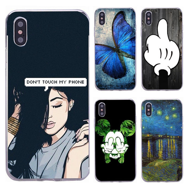 Phone Case For IPhone X TPU Ultra Thin Slim Cover For Apple IPhone X 7 8 Plus 6 6S Case For IPhoneX Cool Girl Back Cover Skin