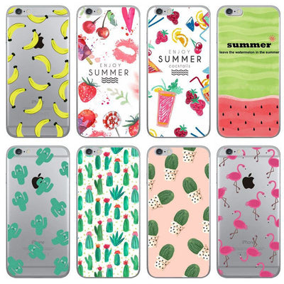 Phone Cases Summer Flamingo Watermelon Cactus Soft Silicone Clear Case Cover For Apple IPhone 7 6 6S 8 Plus X 5S SE Coque Fundas