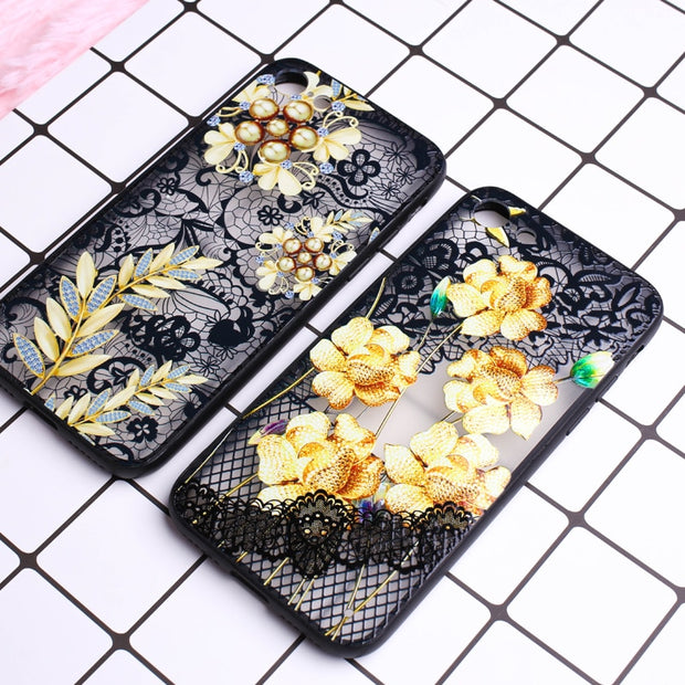 Phone Cases For Iphone 7 Case Plus Cover Luxury Flower Pattern Case For IPhone 6 6s 7 8 Plus Case Soft Silicone Floral Protect
