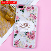 Pink Flowers Clear Case For IPhone X 5 5S 6 6S 7 8 Plus Soft Cover Silicon Phone Case For IPhone 5 5S SE 3D Relief Matte Shell