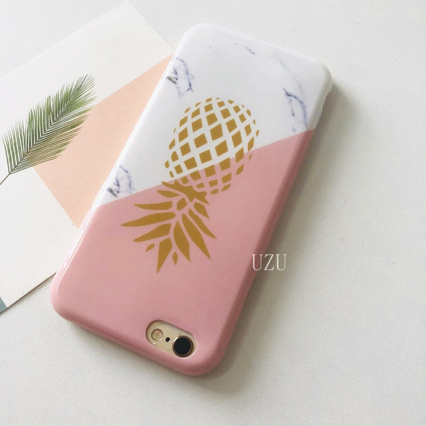 Pink Marble Phone Case For Iphone 8 Plus 5 5s Se Golden Pineapple Texture Splicing Cases For Iphone 7 6 6s Plus X 10 Soft Etui