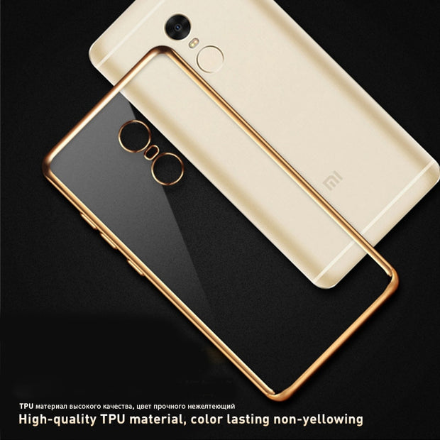 Plating Frame Shining Clear TPU Case For Xiaomi Mi A1 6 Max Mi5S Mi5X Mi5 Redmi 4X Note 4X 4 Pro 4A 3S 3 Pro Soft Silicone Cover