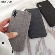 Plush Fabrics Phone Case For Apple IPhone X Xs Max Xr 8 7 6s 6 Plus Warm Plush Fashion Soft Color Back Cover Cases Capa Fundas