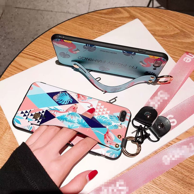 QIKEFANG New Popular Fashion Wristband Flamingo Bracket Soft Cover Case For Iphone 6 7 8 Plus X XR XS MAX Phone Cases