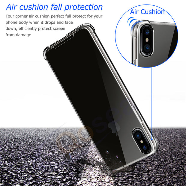Qosea For IPhone X Case Transparent Hard PC Back Soft TPU Bumber Skin Ultra Clear For IPhoneX Airbag Anti Knock Protective Cover