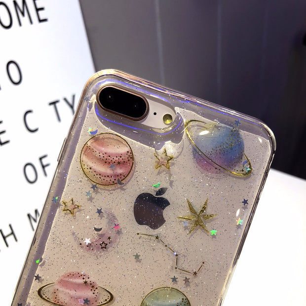Quicksand Powder Epoxy Phone Case For IPhone 6 7 6S 8 Plus Universe Planet Star For IPhoneX 6 6S 7 8 XR XS MAX Case Transparent