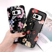 Retro Classical Flowers Phone Case For Samsung Galaxy S8 S8Plus S9 S9Plus Note 8 Soft TPU Phone Back Cover Holder Stand Cases