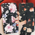 Retro Flowers With Ring Innovative Personality All-inclusive Fashion Mobile Phone Case For IPhone7plus Apple X/8/6/6s For Female