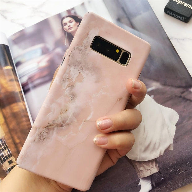Retro Luminous Effect Marble Stone Painted Pink Case For Samsung Galaxy S7 S7Edge S8 S9 Plus Note 8 Blue Gold Line Marble Cases