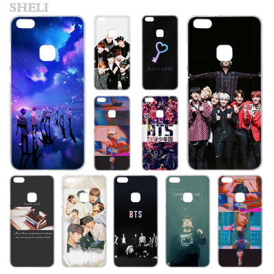 SHELI BTS Fake Love Transparent Hard Phone Case Cover For Huawei P8 P9 P10 P20 Lite 2017 Plus Pro Mate 10
