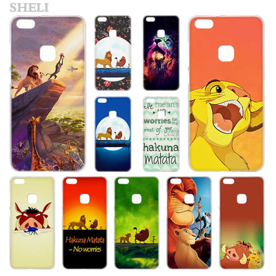 SHELI Hakuna Matata Lion King Transparent Hard Phone Case Cover For Huawei P8 P9 P10 P20 Lite 2017 Plus Pro Mate 10