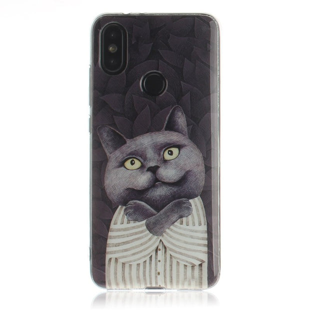 STROLLIFE Cute Couples Phone Case For Xiaomi 6X Pocophone F1 Cool Cat Cover For Redmi 5 Plus Note5 6 6A 6Pro Funny Pattern Shell