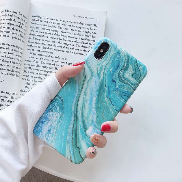 STROLLIFE Golden Marble Phone Case For IPhone X XR XS Max Retro Green Stone  Texture Cover For IPhone8 6s 7 Plus Matte Soft Shell