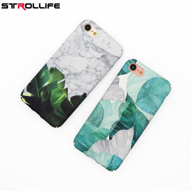 STROLLIFE Retro Artistic Marble Phone Cases For Iphone 8 Case Plants Banana Leaves Frosted Hard PC Back Cover For Iphone 8 4.7""