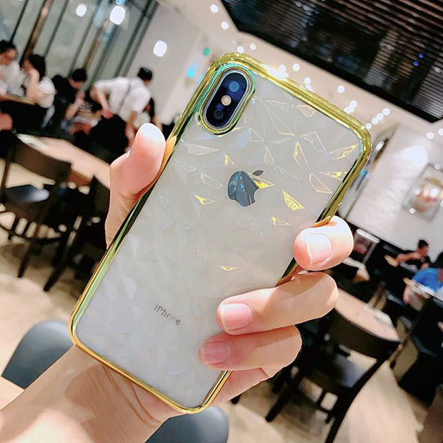 SUYACS Phone Cases For IPhone 6 6S 7 8 Plus X XR XS MAX Fashion Transparent Diamond Pattern Soft TPU Graphic Phone Case Fundas