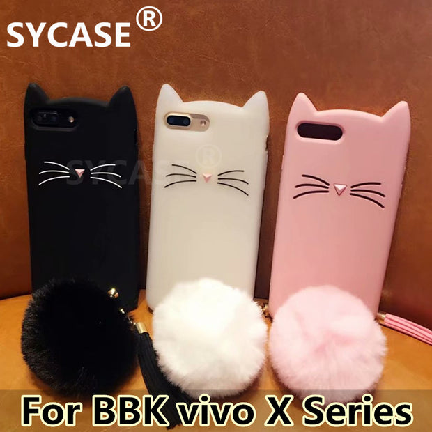 SYCASE Cute Beard Cat Silicagel Shell For BBK Vivo X6 X7 Plus X9s X9 Plus X21 UD Nex Case Cartoon Hairball Anti-fall Cover Women
