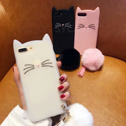 SYCASE Cute Beard Cat Silicagel Shell For Huawei Honor 5x 6x 7c Honor 8 9 10 V9 V8 Case Cartoon Hairball Anti-fall Cover Women