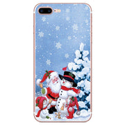 Santa Claus Snowman Case For Iphone 5 5S SE 7 6 6S 8 Plus X XR XS Max Cartoon Christmas Painted Cover Fashion Soft TPU Cases