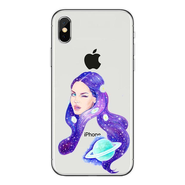Sexy Singer Model Lana Del Rey Transparent Silicone Soft TPU Phone Cover Case For IPhone 4 5 6 7 8 Plus X Back Fundas Coque