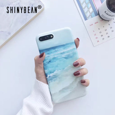 ShinyBean IMD Sea Blue Ocean Phone Case For IPhone 6 6S Soft Wave Beach Matte Cases For Iphone 6 S Plus 7 8 Plus X TPU Art Cover