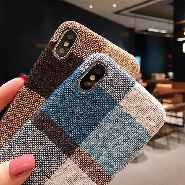 Shockproof Canvas Phone Case For IPhone 6 7 8Plus Plaid Soft TPU Case For IPhone X Full Protective Phone Case