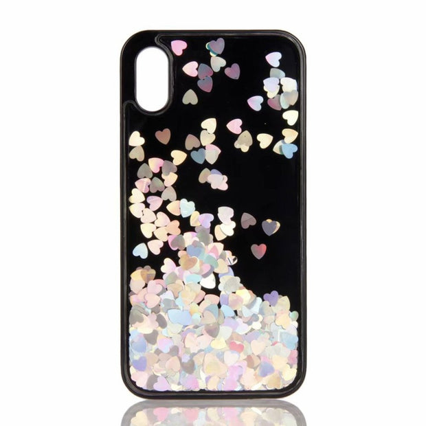 Shockproof Phone Back Cover Bling Glitter Liquid Quicksand Love Sequins Phone Back Protective Cases Suitable For IPhone X