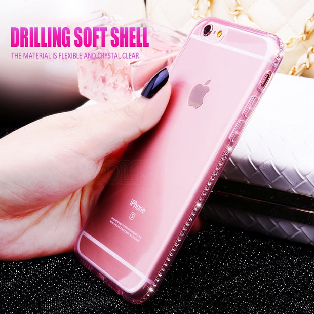Silicone Bling Diamond Case For Samsung S8 S9 Plus S7 Edge A6 A8 Plus J4 J6 J8 2018 A3 A5 A7 J3 J5 J7 2017 2016 Soft Clear Cover