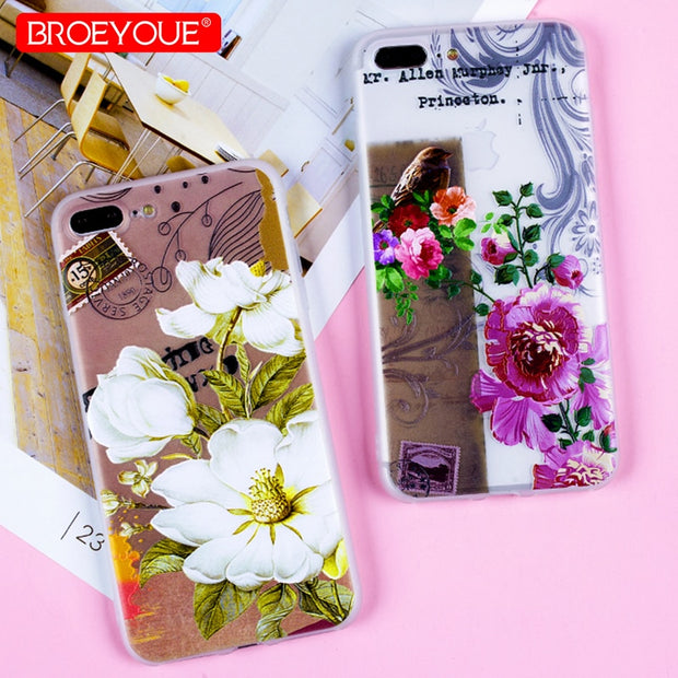 Silicone Cover For IPhone X SE 5 5S 6 6S 7 8 Luxury Case 3D Relief Retro Flowers Pattern Case For IPhone 6 6S 7 8 Plus Soft Case