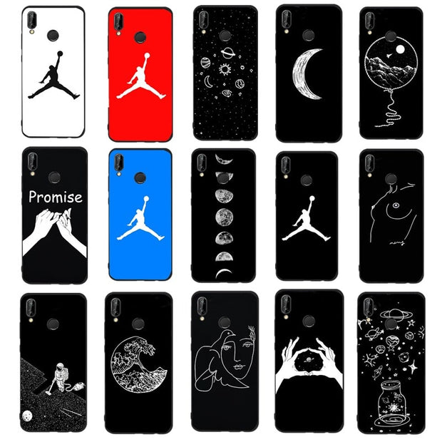 professional sale famous brand wholesale outlet Silicone Jordan 23 Moon Pattern Case For Huawei P9 Lite 2017 P20 Lite P  Smart Soft Cover Black Cool Girl Funda For P10 Lite