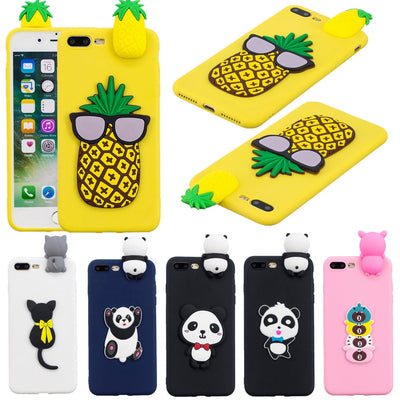 Silicone Coque For Apple Iphone 8 7 Case 3D Cute Cat Panda Pineapple Cases Cover For Iphone 7 6 8 Plus X 5s 5 Se