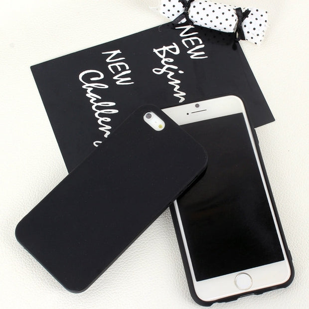 Simple Black Phone Case For Iphone Se 5s 5 6s 6 7 8 Plus Silicone Soft Slim Luxury Back Protective Cover Bags For Iphone 6s
