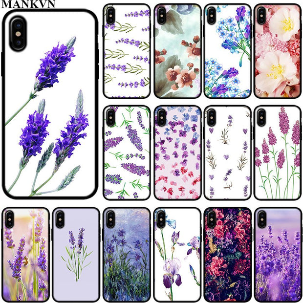 Simple Lavender Purple Flowers Black Silicone Phone Cases For Apple IPhone 6 6S 7 8 Plus X XR XS MAX 5S SE Soft TPU Case Cover