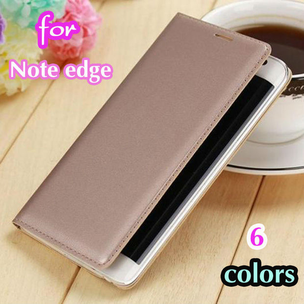 Slim Shell Battery Housing Case For Samsung Galaxy Note Edge N9150 Leather Case Flip Wallet Cover Original Holster