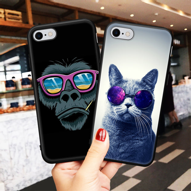 Soft Case For IPhone 8 7 Plus XS Max XR Silicone Back Cover Phone Cases Capa For IPhone 5S SE 6S 6 7 Dog Cute Puppy Funy Pattern