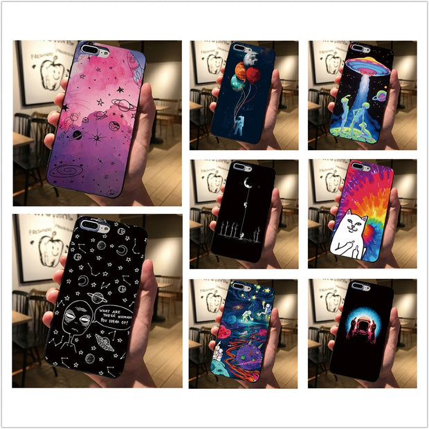 Soft Case For Iphone XS MAX XR 7 8 Plus 5 5S 6 6S X Astronaut Cat Space Universe Art Cover For Samsung Galaxy S7 Edge S8 S9
