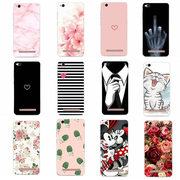 Soft For Case Xiaomi Redmi Note 5 Pro 5A 4A 4X 5 Plus Silicone Luxury Marble Flower Soft Cover For Xiomi Redmi Note 5A Mi A1