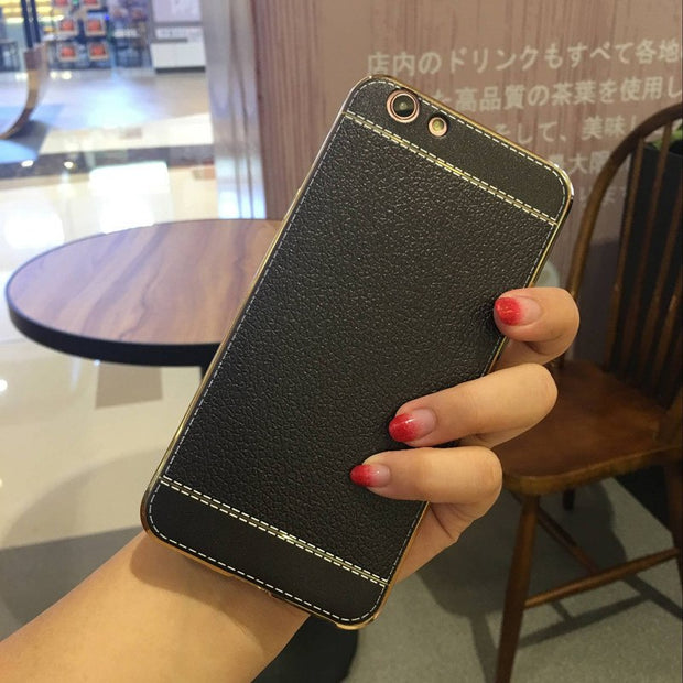 Soft Plating Litchi Leather Silicone Phone Case For VIVO X9 V5 Plus For VIVO X7 X6 Plus V3 Max Y67 V5 Y66 V5 Lite Y53 Y51 Y55