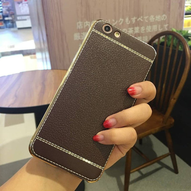 Soft Plating Litchi Leather TPU Silicone Phone Case For Nokia 6 For Letv 1S 2 For Letv Max2 Pro3