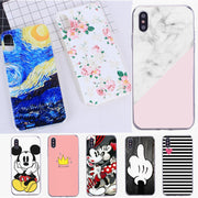 Soft Silicon For Funda Iphone 7 Plus Marble Stone Cute Minnie Mobile Phone Bags Cases Shell For Iphone X 6 6S 5 5S SE 7 8Plus