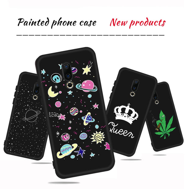 Soft Silicone TPU Pattern Phone Case For Meizu 16 16th 16X M5 M6 Note 5 6 M5C M5S Animals Sky Color Painted Cover For Meizu Case