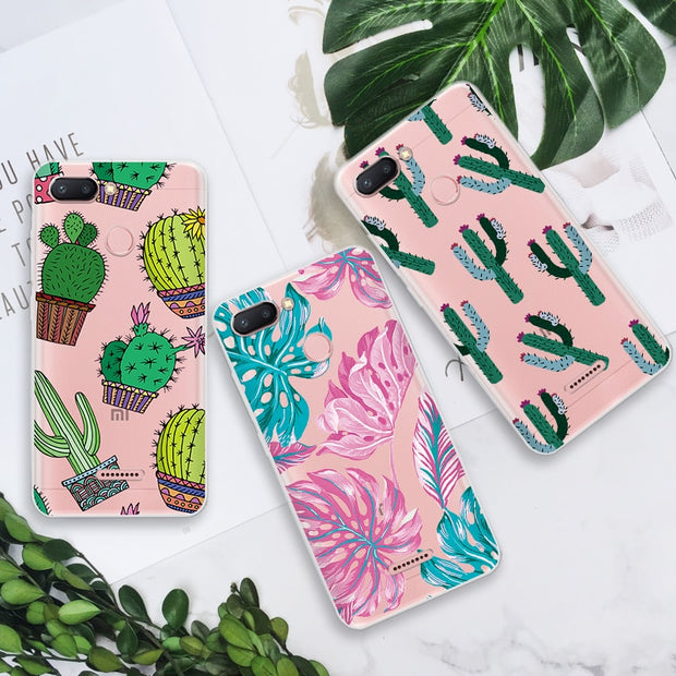 Soft TPU Case For Xiaomi Redmi 5 Note 5A 4X 5 Pro 4A 6 6A 6 Pro S2 Leaf Case For Xiaomi Mi A1 5X 5 6 Mi6 Mi5 Mi6X MiA2 Mi8 SE