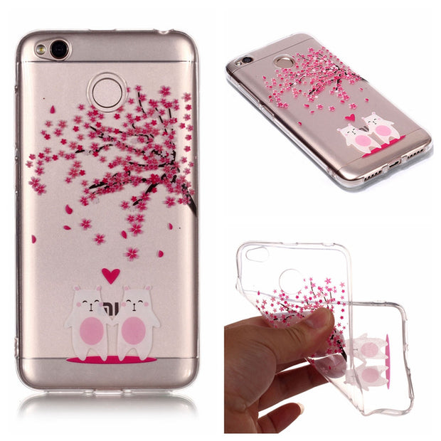 Soft TPU Cover For Xiaomi Redmi 4X Case High Transparent Cherry Blossom Series Design Silicone Mobile Phone Cases Covers