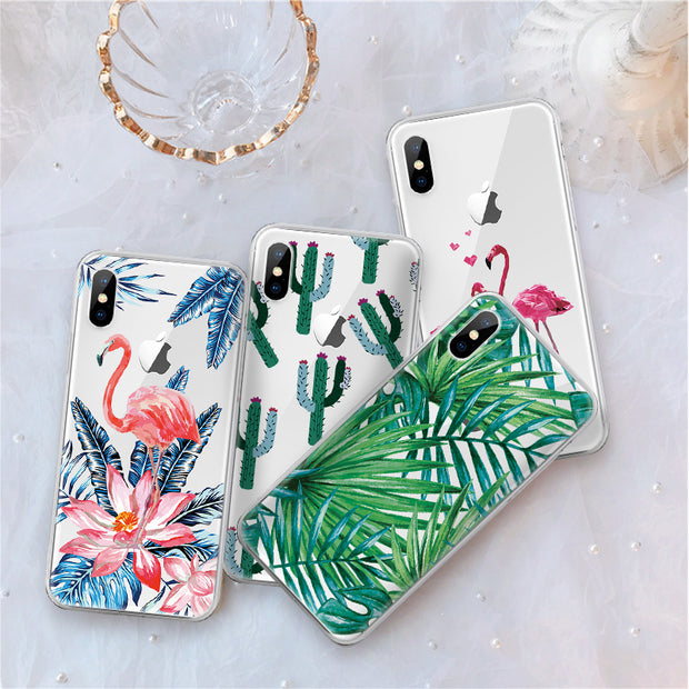 Soft TPU Leaves Pattern Case For IPhone Xr Xs Xs Max 7 8 Plus 6 6s 4S 5S SE Coque Fundas Phone Cover For IPhone X 8 Plus Shell